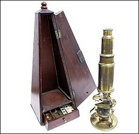 Signed: Adams London. Small Culpeper style microscope with draw-tube focusing. c. 1790