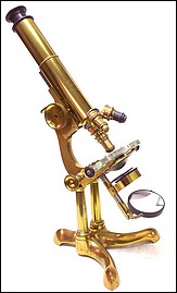 Bausch & Lomb Optical Co., Rochester NY, Serial No. 76, Pat. Oct. 3, 1876. The Professional model microscope, c. 1876