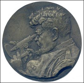 Portrait of the Romanian microscopist Ioan Cantacuzino (1863-1934). Artist signed: A. Lavrillier, Jassy 1918. Bronze plaque 150 mm in diameter.