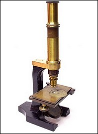 Grunow, New York; microscope with spiral tube focusing