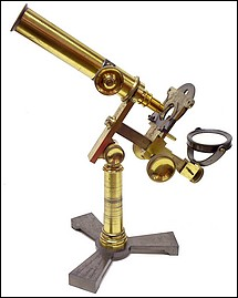 Horne Thornthwaite & Wood, 123 Newgate St. London. Stage-focusing microscope, c.1848