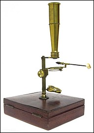 Mackenzie 15 Cheapside London. New Improved Pocket Compound Microscope . Cary-Gould type microscope, c. 1830.