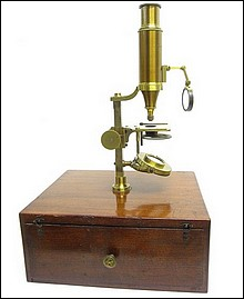 Signed: Made for McAllister & Co., Philadelphia. Imported larger case-mounted French microscope, c.1844