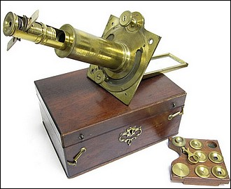 Solar microscope with screw barrel, c. 1750