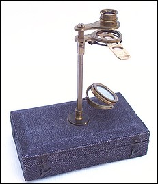 Botanical microscope mounted on a sharkskin covered case. c. 1800