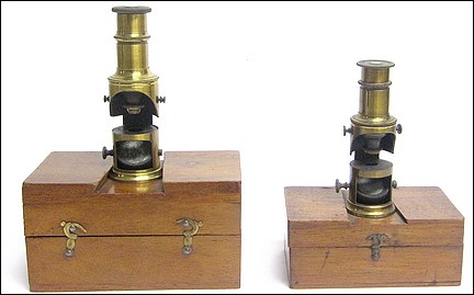 Two examples of Bertrand Furnace Microscopes. Pocket-sized drum microscopes