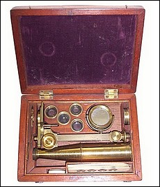 Cary-Gould type case-mounted microscope with inclination