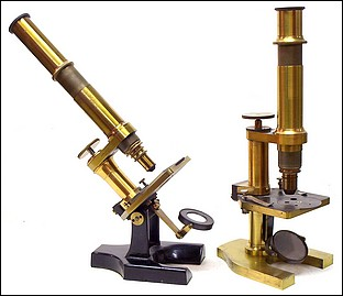 Two microscopes signed J. Grunow, New York. Left No. 676; right No. 780