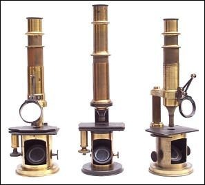 Drum microscopes, from left to right: 1. Nachet Opticien, rue des Grands Augustins, Paris; 2. A. Kruss, Hamburg, No. 260; 3. Nachet Opticien, rue Serpente 16, Paris.