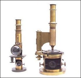 Drum microscopes: from left to right, 1. E. Hartnack, sucr. G.Oberhaeuser, Place Dauphene 21, Paris. 2. Made expressely for C. Duhamel, Optician, new-Orleans.