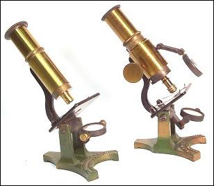Two versions of the James W. Queen & Co., Philadelphia. Universal Household Microscope. c.1885
