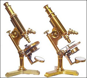 Both: Bausch & Lomb Optical Co. The Investigator models. left: serial No. 3634, c. 1885 ; right: serial No. 6818, c. 1890