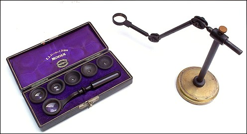 C.A. Steinheil Sohne, Muenchen. Set of aplanatic loupes with handle and loupe stand.