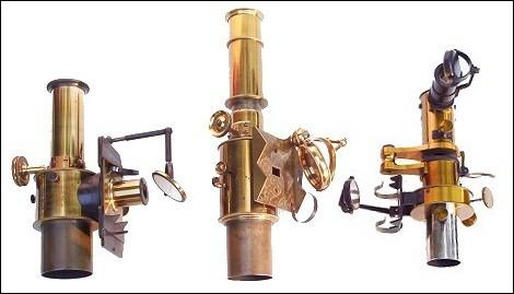 Microspectroscopes, from left to right: R&J Beck, London: John Browning, London; Carl Zeiss, Jena