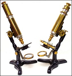 Two versions of the Nonpareil model microscope. Signed by Ernst Gundlach and Yawman & Erbe, c. 188