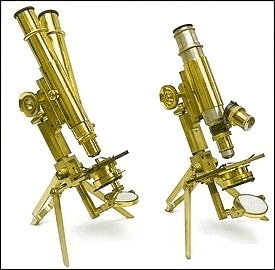 "portable microscopes, Left: J. Swift & Son, No. 260; Right: J. Swift & Son, 438, ""Miliitary Portable"", agents Hughes Owens Co."