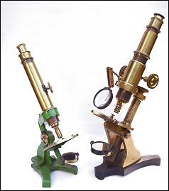 Left: Early Watson microscope ; Right: Gebr Mittelstrafs, Magdeburg