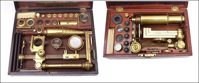 left: Jones Most Improved model microscope Bate London, c. 1825. right: An Improved model microscope with early Canadian history, c. 1835