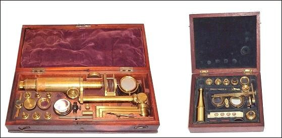 left: Carpenter type improved microscope. right: Porter &amp; Hunt, London. Both c. 1835