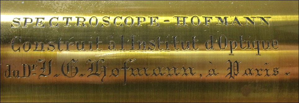 Spectroscope - Hofmann, Construit à l' Institute d' Optique à Paris du Dr. J. G. Hofmann à Paris, Direct Vision Spectroscope, c. 1870