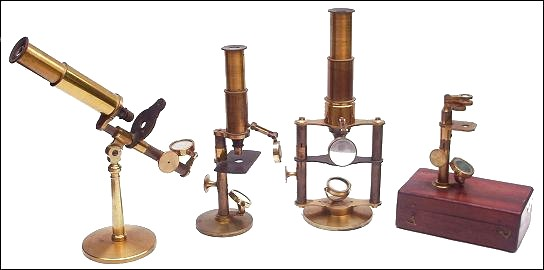 A collection of French microscopes, Unsigned, but apparently made by the same manufacturer. c. 1860