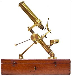 W. Matthews Camden Rd., London. Case-mounted portable microscope c. 1858