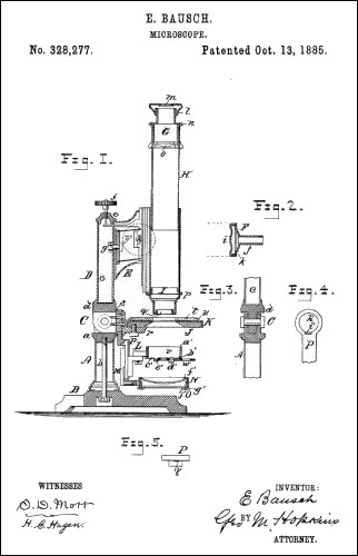 Bausch and Lomb microscope patent us328277