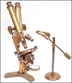 Bausch & Lomb Optical Co. The Universal model microscope fitted with binocular tubes. Pat. Oct. 3, 1876 and Oct 13, 1885