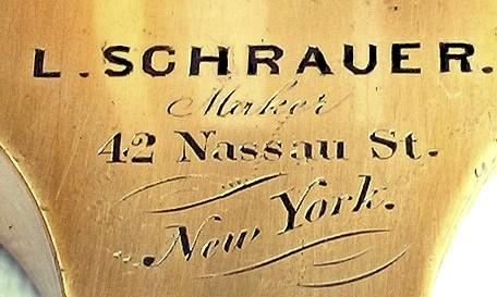 L. Schrauer, Maker, 42 Nassau St., New York. Microscope on a double pillar. c.1880