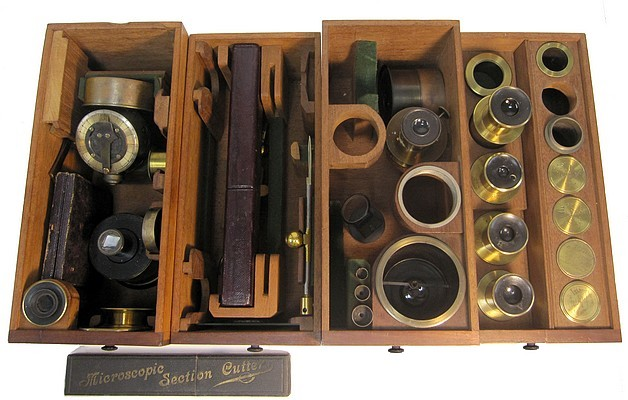 A. Ross, London #599. Large Bar-limb Microscope by Andrew Ross, c. 1855. Accessories.