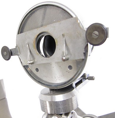 Bausch & Lomb Optical Co. The Universal model microscope with a nickel plated surface finish, c. 1885