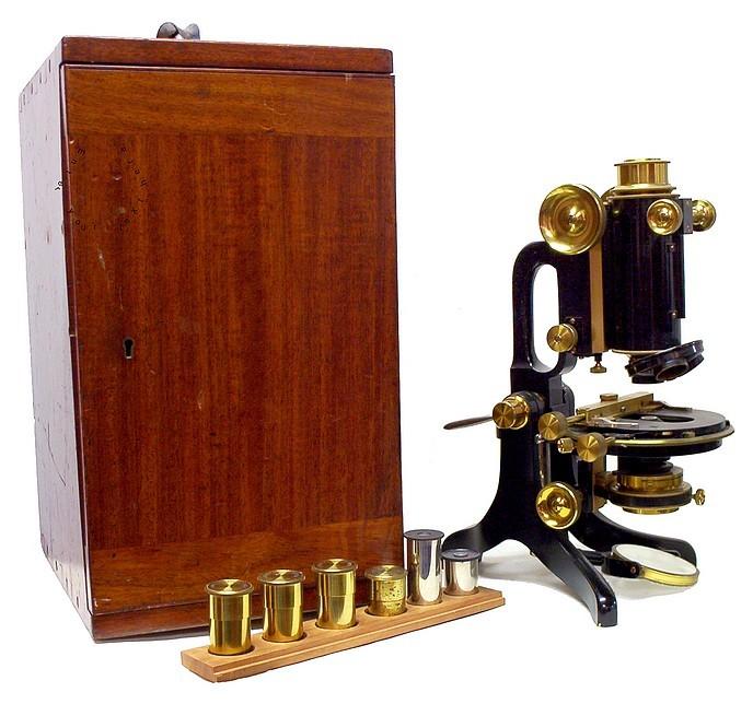 C. Baker 244 High Holborn London #6389. The R.M.S. 1.27 model microscope c.1911
