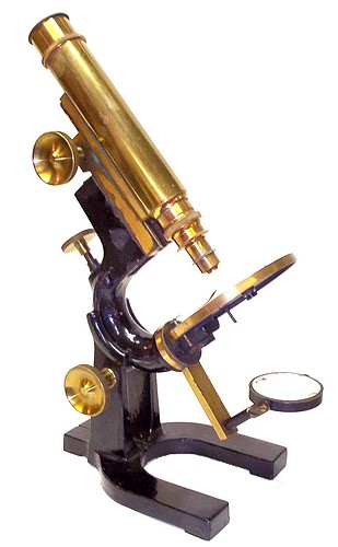 Bausch & Lomb Optical Co., patent Jan. 21, 1879,  #4819. Student model microscope with Wale limb.