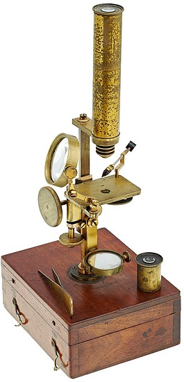 Brunner � Paris, 34 Rue des Bernardins. Gruby Type Pocket Microscope, c. 1844