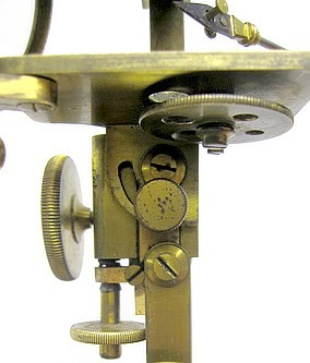 Brunner à Paris, 34 Rue des Bernardins. Gruby Type Pocket Microscope, c. 1844. Showing the substage and stage titlting mechanism.
