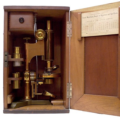 Bausch & Lomb Optical Co. Universal model monocular microscope. Serial 6454, c. 1889 in case