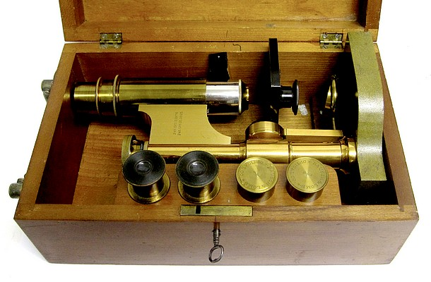 Bausch & Lomb Optical Co. Serial No. 5508.  The Harvard Model Microscope, c. 1888. In Storage case.