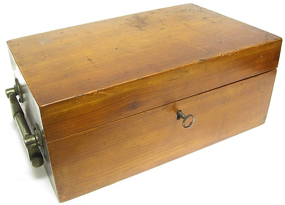Wood storage case for Bausch & Lomb Optical Co. Serial No. 5508.  The Harvard Model Microscope, c. 1888