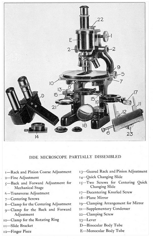 Parts of the Bausch and Lomb DDE microscope