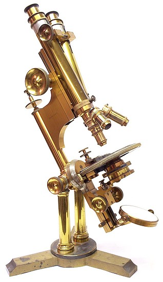 Bausch & Lomb Optical Co. Pat'd Oct. 8, 1876. The Professional model microscope with binocular and petrological tubes