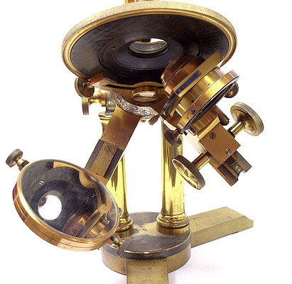 Bausch & Lomb Optical Co. Pat'd Oct. 8, 1876. The Professional model microscope with binocular and petrological tubes. Substgae