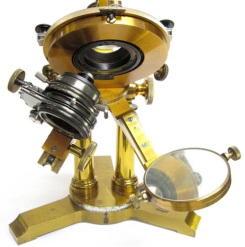 Bausch & Lomb Optical Co., Rochester and New york City, #16221. The final version of the Professional Model microscope, c. 1894. substage