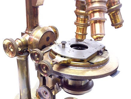 bausch & lomb optical co. pat'd oct. 8, 1876 and oct. 13, 1885. the professional model microscope. stage
