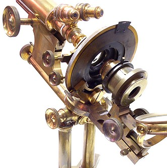 bausch & lomb optical co. pat'd oct. 8, 1876 and oct. 13, 1885. the professional model microscope. substage