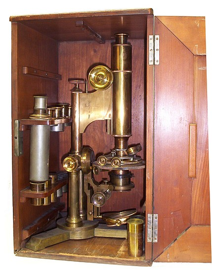 bausch & lomb optical co. pat'd oct. 8, 1876 and oct. 13, 1885. the professional model microscope. stored in the case