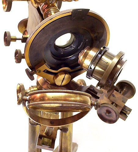 Bausch & Lomb Optical Co. Pat'd Oct. 8, 1876 and Oct. 13, 1885. The Professional model microscope