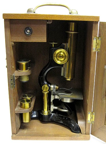 Bausch & Lomb Optical. Co., Rochester NY.#643, The Reseach model microscope, c. 1878. In storage case