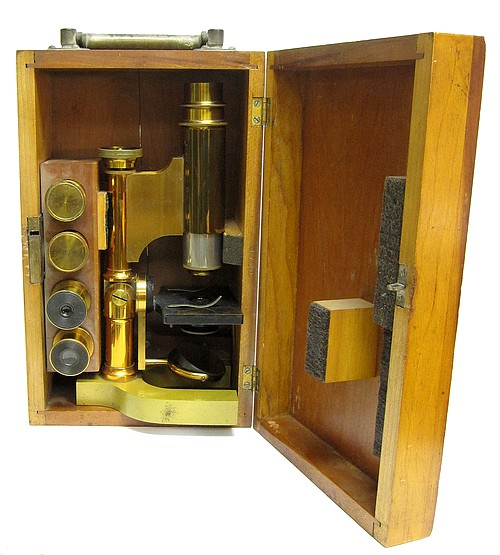 Bausch & Lomb Optical Co. Serial No. 3720, Pat. Oct. 3, 1876. The Harvard Model Microscope with inclination, c. 1885