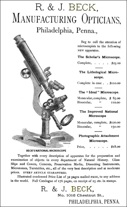 Beck National microscope advertisement
