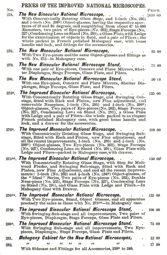 "R.& J.Beck the "" National"" Model Microscope pricing"